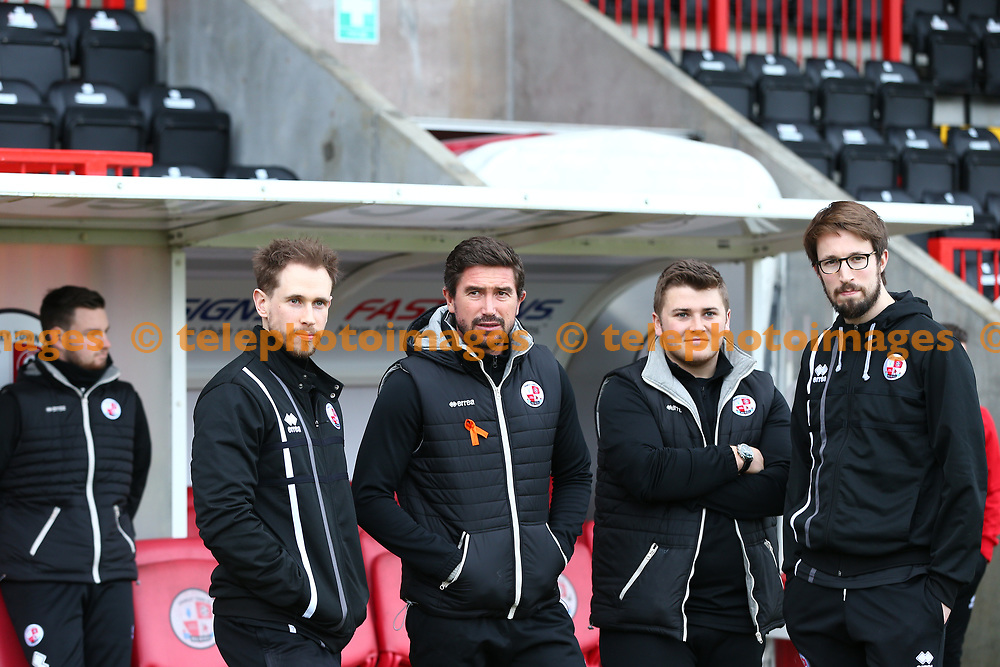 Crawley Town's head coach Harry Kewell with some of his team during the Sky Bet League 2 match between Crawley Town and Barnet at the Checkatrade Stadium in Crawley. 13 Jan 2018
