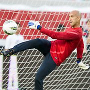 May 26 2012: USA's Tim Howard (1) kicks the ball during pre game  of the U.S. Men's National Soccer Team game against Scotland at Everbank Field in Jacksonville, FL. USA defeated Scotland 5-1.