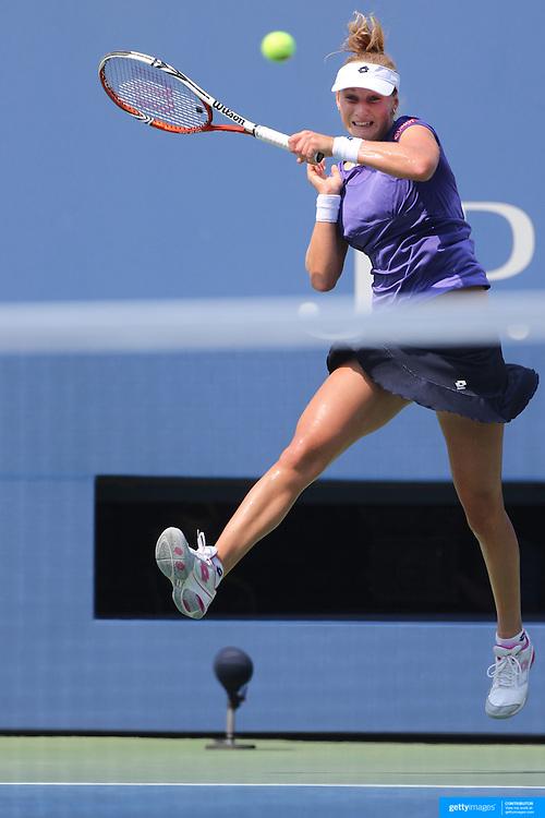 Ekaterina Makarova, Russia, in action against Serena Williams, USA, during the US Open Tennis Tournament, Flushing, New York. USA. 1st September 2012. Photo Tim Clayton