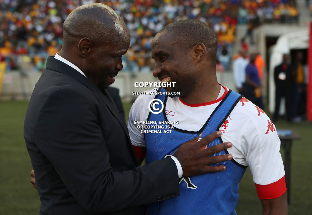 DURBAN, SOUTH AFRICA - FEBRUARY 18: Steve Komphela (Head Coach) of Kaizer Chiefs with Moriri Surprise of Highlands Park during the Absa Premiership match between Kaizer Chiefs and Highlands Park at Moses Mabhida Stadium on February 18, 2017 in Durban, South Africa. (Photo by Steve Haag/Gallo Images)