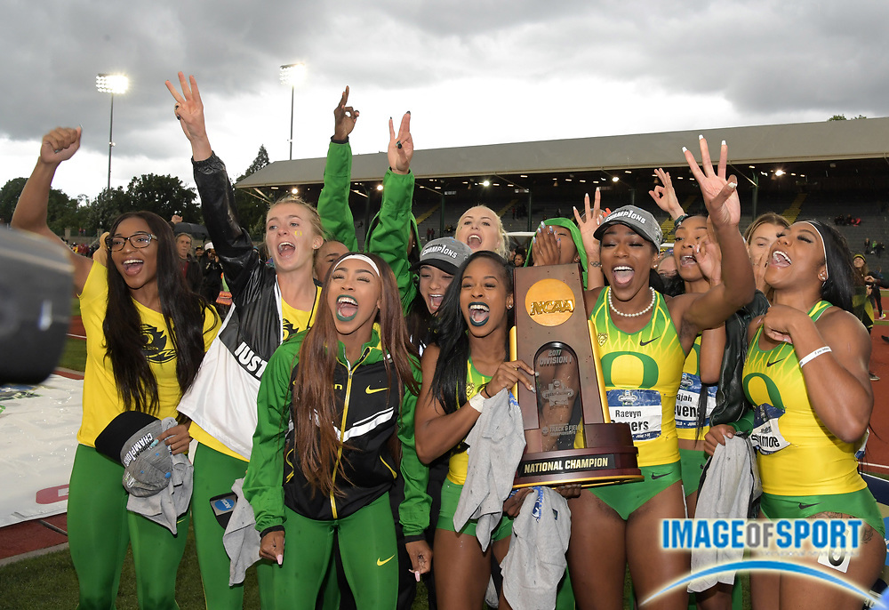 Jun 10, 2017; Eugene, OR, USA; Members of the Oregon Ducks women's team including Hannah Waller, Alaysha Johonson, Elexis Guster, Raeven Rogers and Mackenzie Dunomore celebrate after winning the team title during the NCAA Track and Field Championships at Hayward Field.