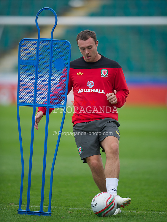 NEWPORT, WALES - Tuesday, August 30, 2011: Wales' Darcy Blake during a training session at the Newport Stadium ahead of the UEFA Euro 2012 Qualifying Group G match against Montenegro. (Pic by David Rawcliffe/Propaganda)