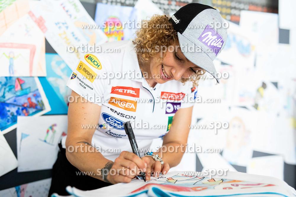 Ilka Stuhec signing an autograph after the presentation of new alpine ski team of Ilka Stuhec before new season 2019/20, on June 10, 2019 in Telekom Slovenije, Ljubljana, Slovenia. Photo by Vid Ponikvar / Sportida