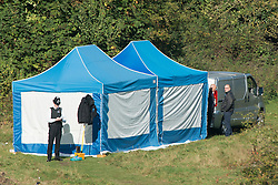 © Licensed to London News Pictures. 05/10/2014. Brentford, UK Police remove the body of Arnis Zalkains from Boston Manor Park today 5th October 2014. The body of a man, believed to be Latvian killer Arnis Zalkalns, was found in Boston Manor Park, Brentford, almost six weeks after the schoolgirl Alice Gross vanished. Arnis Zalkalns was prime suspect in the murder of 14-year-old Alice Gross.. Photo credit : Stephen Simpson/LNP