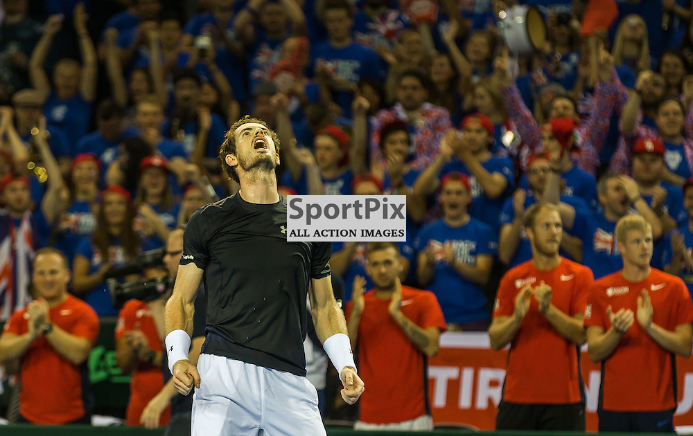 Andy Murray celebrates winning the Davis Cup Semi-final between Great Britian and Australia (c) ROSS EAGLESHAM | Sportpix.co.uk