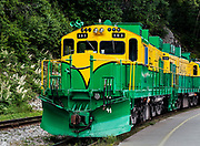 White Pass & Yukon Route scenic and historic touring train car in Skagway, Alaska, USA