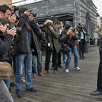 Gerard Collomb, Lyon's Mayor gives a Press Conference for The March 2014 Mayoral Elections