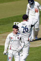 Sam Billings celebrates  after catching Gareth Roderick of Gloucestershire of Gloucestershire for 28 - Photo mandatory by-line: Rogan Thomson/JMP - 07966 386802 - 18/05/2015 - SPORT - CRICKET - Bristol, England - Bristol County Ground - Gloucestershire v Kent - Day 1 - LV= County Championship Division Two.