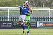 Macclesfield Town's Harry Smith(10) and Forest Green Rovers Farrend Rawson(6) during the EFL Sky Bet League 2 match between Forest Green Rovers and Macclesfield Town at the New Lawn, Forest Green, United Kingdom on 13 April 2019.