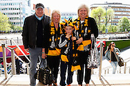 West Auckland fans arrive at Wembley before the FA Vase match at Wembley Stadium, London<br /> Picture by David Horn/Focus Images Ltd +44 7545 970036<br /> 10/05/2014