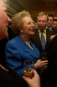 Baroness Thatcher, Catherine de Medici by Leonie Frieda book party, English Speaking Union. 3 February 2004. © Copyright Photograph by Dafydd Jones 66 Stockwell Park Rd. London SW9 0DA Tel 020 7733 0108 www.dafjones.com