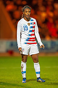 Crystal Dunn (#19) (NC Courage) of the USA during the Women's International Friendly match between Scotland Women and USA at the Simple Digital Arena, Paisley, Scotland on 13 November 2018.