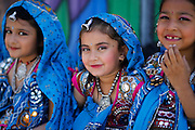 Arshia Ohri, 6, waits with her friends before performing during the First Annual Multicultural Festival at Pomeroy Elementary School in Milpitas, California, on April 27, 2013. (Stan Olszewski/SOSKIphoto)