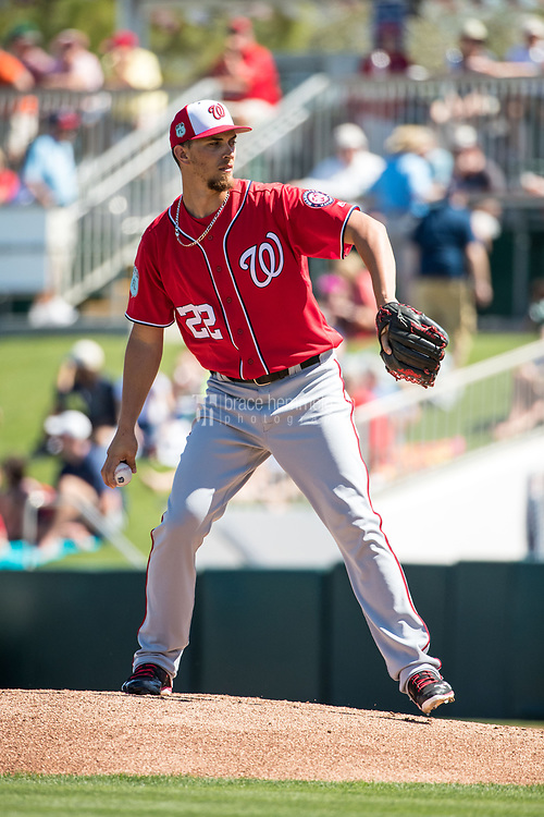 FORT MYERS, FL- FEBRUARY 26: A.J. Cole #22 of the Washington Nationals pitches against the Minnesota Twins on February 26, 2017 at Hammond Stadium in Fort Myers, Florida. (Photo by Brace Hemmelgarn) *** Local Caption *** A.J. Cole