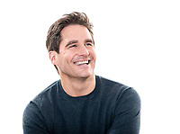 one  man mature handsome man laughing portrait studio white background