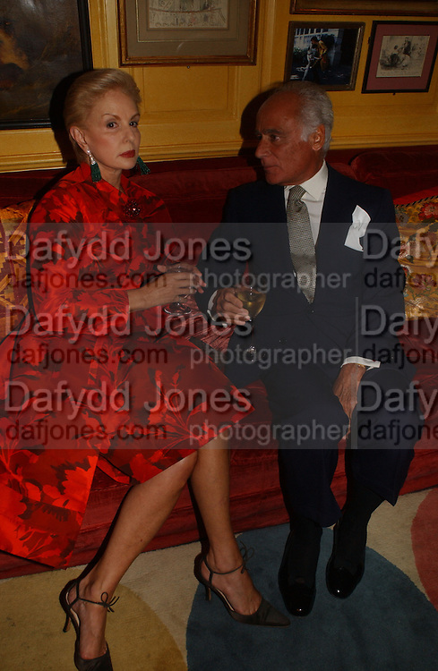Carolina Herrera and John Stefanides, Party given by Taki and Alexandra Theodorakopoulos. Annabels. London. 26 September 2006. -DO NOT ARCHIVE-© Copyright Photograph by Dafydd Jones 66 Stockwell Park Rd. London SW9 0DA Tel 020 7733 0108 www.dafjones.com