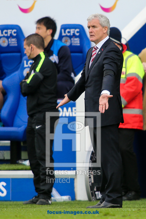 Stoke City manager Mark Hughes is unhappy during the Premier League match at the King Power Stadium, Leicester<br /> Picture by Andy Kearns/Focus Images Ltd 0781 864 4264<br /> 01/04/2017