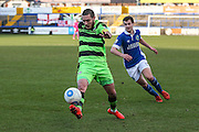 Forest Green Rovers Liam Noble(15) controls the ball during the FA Trophy match between Macclesfield Town and Forest Green Rovers at Moss Rose, Macclesfield, United Kingdom on 4 February 2017. Photo by Shane Healey.