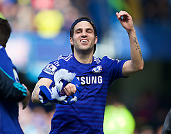 LONDON, ENGLAND - Sunday, May 3, 2015: Chelsea's Cesc Fabregas celebrates winning the Premier League title after a 1-0 victory over Crystal Palace during the Premier League match at Stamford Bridge. (Pic by David Rawcliffe/Propaganda)