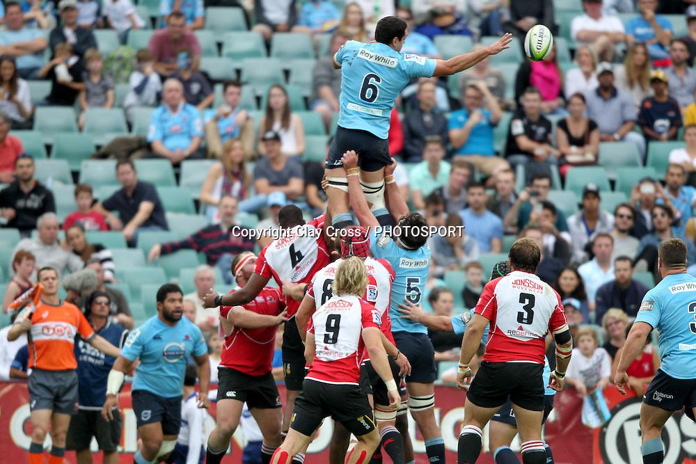 Waratahs captain David Dennis during the NSW Waratahs v Lions 2014 Super Rugby round 14 match. Allianz Stadium, Sydney. Sunday 18 May 2014. Photo: Clay Cross / photosport.co.nz
