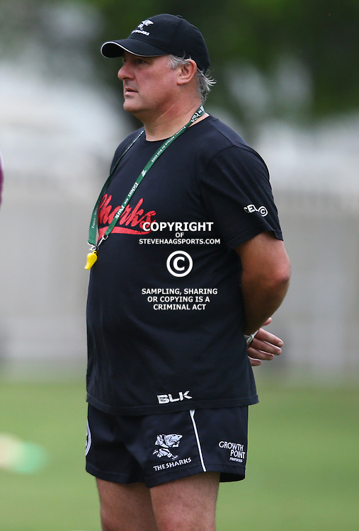 DURBAN, SOUTH AFRICA, January 2016 - Gary Gold (Sharks Director of Rugby) during The Cell C Sharks Pre Season training Tuesday 12th January 2016,for the 2016 Super Rugby Season at Growthpoint Kings Park in Durban, South Africa. (Photo by Steve Haag)<br /> images for social media must have consent from Steve Haag