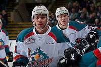KELOWNA, CANADA - JANUARY 18: Devante Stephens #21 and Braydyn Chizen #22 of the Kelowna Rockets celebrate a goal against the Moose Jaw Warriors on January 18, 2017 at Prospera Place in Kelowna, British Columbia, Canada.  (Photo by Marissa Baecker/Shoot the Breeze)  *** Local Caption ***