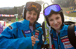 Tina Robnik and her sister Mateja Robnik after the race was cancelled  during 1st Run of 47th Golden Fox Audi Alpine FIS Ski World Cup Ladies Giant Slalom, on January 15, 2011 in Pohorje, Maribor, Slovenia. Race was cancelled after 25th competitor. (Photo By Vid Ponikvar / Sportida.com)
