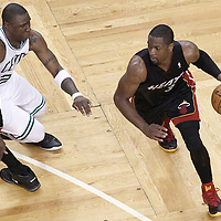 03 June 2012: Miami Heat shooting guard Dwyane Wade (3) drives past Boston Celtics small forward Mickael Pietrus (28) on a screen set by Miami Heat power forward Udonis Haslem (40) during the Boston Celtics 93-91 overtime victory over the Miami Heat, in Game 4 of the Eastern Conference Finals playoff series, at the TD Banknorth Garden, Boston, Massachusetts, USA.