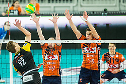 Artur Szalpuk of PGE Skra Belchatow vs Ziga Stern of ACH and Jan Kozamernik of ACH during volleyball match between ACH Volley (SLO) and PGE Skra Belchatow (POL) in Round #4 of 2017 CEV Volleyball Champions League, on January 19, 2017 in Arena Stozice, Ljubljana, Slovenia. Photo by Vid Ponikvar / Sportida