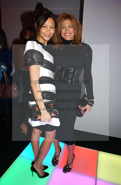 Left to right, actress THANDIE NEWTON and actress EVA MENDES at a party to celebrate the launch of a range of leather accessories designed by Giles Deacon for Mulberry held at Harvey Nichols, Knightsbridge, London on 30th October 2007.<br /><br />NON EXCLUSIVE - WORLD RIGHTS