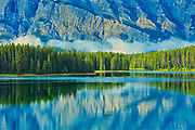 Reflection of Mt. Rundle in Two Jack Lake<br />