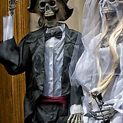 Plastic Halloween skeleton bride and groom decorations in Greenwich Village.