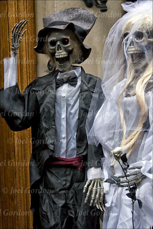 Plastic Halloween skeleton bride and groom decorations in Greenwich Village.