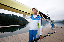Rok Kolander and Tomaz Pirih during media day of Slovenian National rowing team before World Championships in New Zealand 2010 on October 14, 2010 in Mala Zaka, Bled, Slovenia. (Photo by Vid Ponikvar / Sportida)
