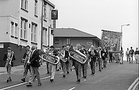 Goldthorpe Colliery Band march before the branch banner. 1990 Yorkshire Miner's Gala. Rotherham.