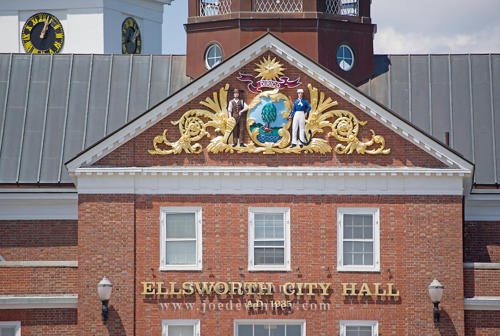 Pediment and cupola on the City Hall municipal building. Ellsworth, Maine