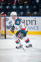 KELOWNA, CANADA - JANUARY 10: Josh Morrissey #27 of Kelowna Rockets skates against the Medicine Hat Tigers on January 10, 2015 at Prospera Place in Kelowna, British Columbia, Canada.  (Photo by Marissa Baecker/Shoot the Breeze)  *** Local Caption *** Josh Morrissey;