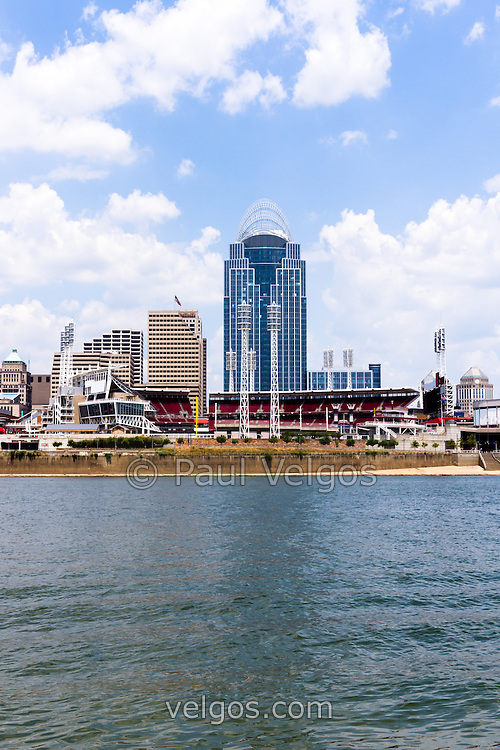 Photo of Cincinnati skyline and downtown city buildings including Great American Ballpark, Great American Insurance Group Tower, PNC Tower building, Omnicare building, US Bank building, Carew Tower building, Scripps Center building, and US Bank Area. Photo was taken in July 2012.