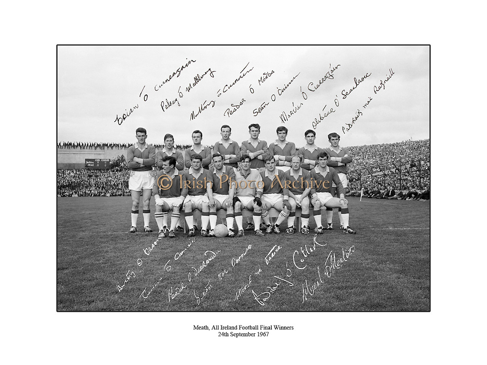 Signed team shot of the 1967 All Ireland football final winners Meath. 24th September 1967, 24/09/1967.