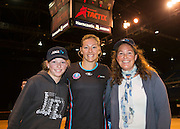 Sammie Withers, 12 years old and Karen Withers, for an ANZ VIP experience with Anna Thompson for the Tactix during the ANZ Championship Netball game between the Mainland Tactix v Adelaide Thunderbirds at Horncastle Arena in Christchurch. 20th April 2015 Photo: Joseph Johnson/www.photosport.co.nz