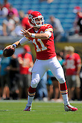 Kansas City Chiefs quarterback Alex Smith (11) during the Chiefs 28-2 win over the Jacksonville Jaguars at EverBank Field on Sept. 8, 2013 in Jacksonville, Florida. The <br /> <br /> ©2013 Scott A. Miller