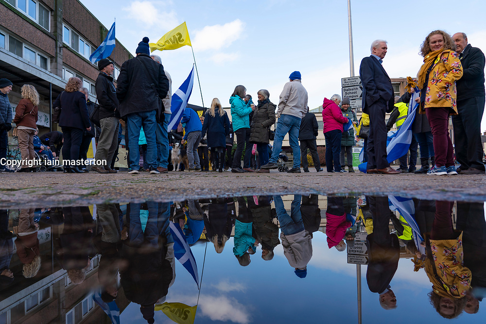 Dalkeith, Scotland, UK. 5th November 2019. First Minister Nicola Sturgeon joined Owen Thompson, SNP candidate for Midlothian, to campaign in Dalkeith at the One Dalkeith Community Hub where she met local artists and musicians. Pic, SNP supporters wait for Nicola Sturgeon. Iain Masterton/Alamy Live News.