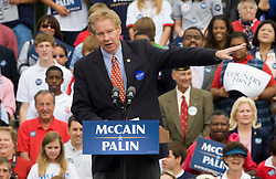 "Congressman Tom Davis (R-VA) speaks to supporters at a McCain Palin rally in Virginia.  2008 Republican Presidential nominee Senator John McCain (R-AZ) and Governor Sarah Palin (R-AK) held a ""Road to Victory Rally"" in front of an estimated 23,000 supporters in Van Dyke Park in Fairfax, VA on September 10, 2008."