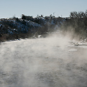 steam rises from a river on the drive through Utah
