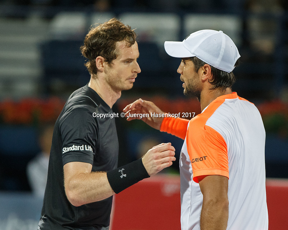 FERNANDO VERDASCO (ESP) gratuliert dem Sieger ANDY MURRAY (GBR), Herren Finale<br /> <br /> Tennis - Dubai Duty Free Tennis Championships - ATP -  Dubai Duty Free Tennis Stadium - Dubai -  - United Arab Emirates  - 4 March 2017. <br /> &copy; Juergen Hasenkopf