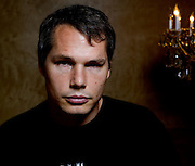 Los Angeles, California: artist Shepard Fairey in the stairwell of his studio in the Echo Park district of Los Angeles, 7/14/08.