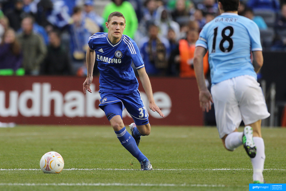Andreas Christensen, Chelsea, in action during the Manchester City V Chelsea friendly exhibition match at Yankee Stadium, The Bronx, New York. Manchester City won the match 5-3. New York. USA. 25th May 2012. Photo Tim Clayton