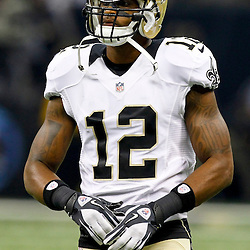 September 23, 2012; New Orleans, LA, USA; New Orleans Saints wide receiver Marques Colston (12) against the Kansas City Chiefs during the first quarter of a game at the Mercedes-Benz Superdome. Mandatory Credit: Derick E. Hingle-US PRESSWIRE