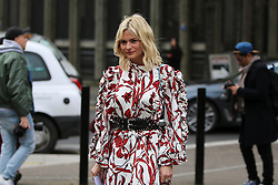 Pandora Sykes arrives at the Topshop Unique Autumn / Winter 2017 London Fashion Week show at Tate Modern, London