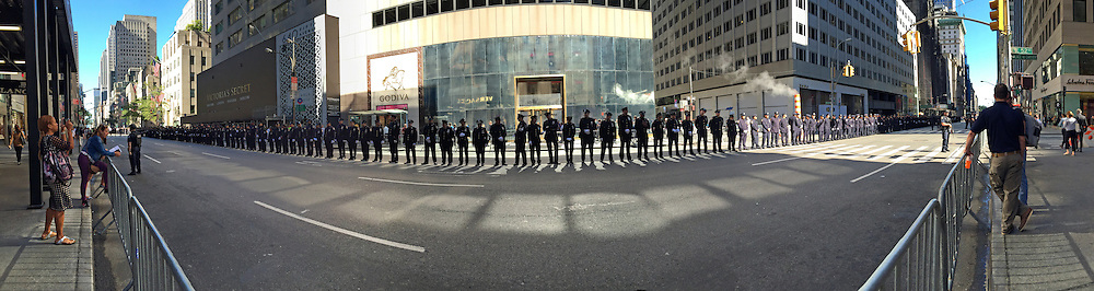 Line of policeman on 5th Ave, Manhattan.